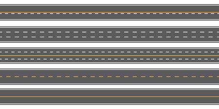 Creative vector illustration of horizontal straight seamless roads isolated on transparent background. Art design modern asphalt repetitive highways. Road asphalt highway street seamless element