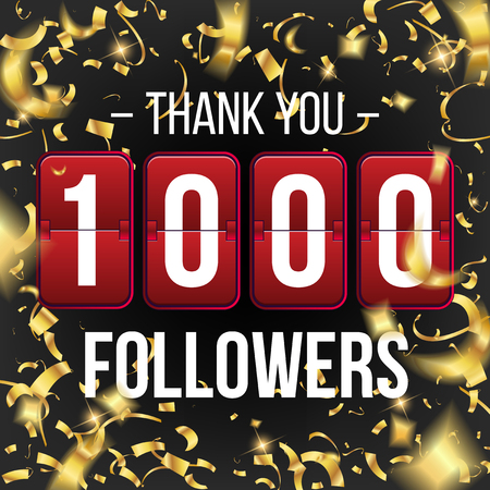 Creative vector illustration of 1000 followers subscribers, thank you card banner isolated on transparent background. Art design web user celebrates blogger network. Abstract concept graphic element.