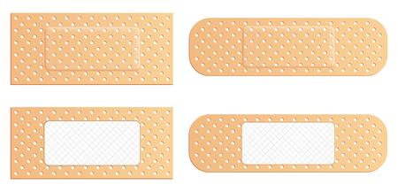 Ilustración de vector creativo de yeso médico elástico vendaje adhesivo conjunto aislado sobre fondo transparente. Parche elástico médico de diseño artístico. Elemento de forma diferente gráfico de concepto abstracto.