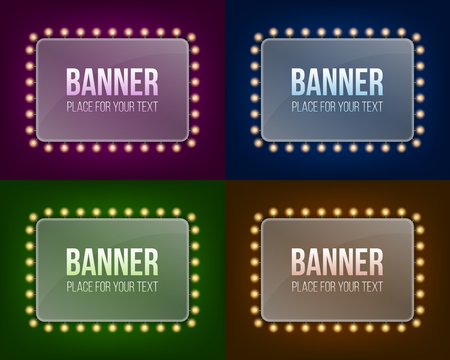 Creative vector illustration of illuminated realistic shine string bulbs banner isolated on transparent background. Art design glowing billboard hollywood lights. Abstract concept graphic element.