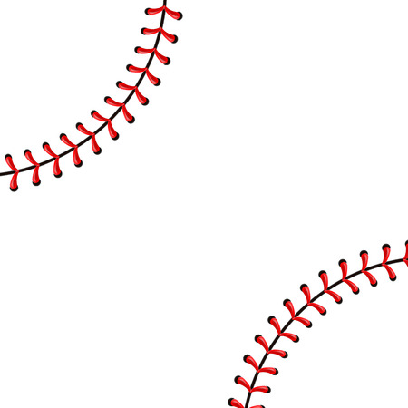 Creative vector illustration of sports baseball ball stitches, red lace seam isolated on transparent background. Art design thread decoration. Abstract concept graphic element. Vectores