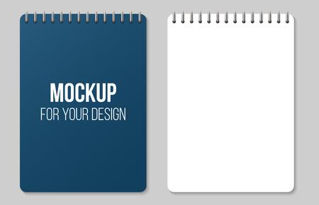 Illustration vectorielle créative de pages de papier lignées et points isolés sur fond transparent. Modèle de maquette vierge de bloc-notes en spirale propre de conception d'art. Élément graphique abstrait. Vecteurs