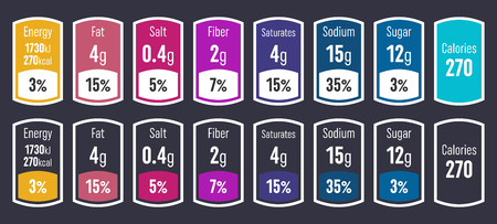 Creative vector illustration of nutrition facts information label for cereal box package isolated on transparent background. Design daily value ingredient amounts guideline calories, cholesterol, fat.  イラスト・ベクター素材
