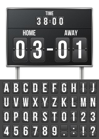 Creative vector illustration of soccer, football mechanical scoreboard isolated on transparent background. Art design retro vintage countdown with time, result display. Concept graphic sport element. Illustration