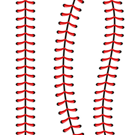 Creative vector illustration of sports baseball ball stitches, red lace seam isolated on transparent background. Art design thread decoration. Abstract concept graphic element. Stock Illustratie