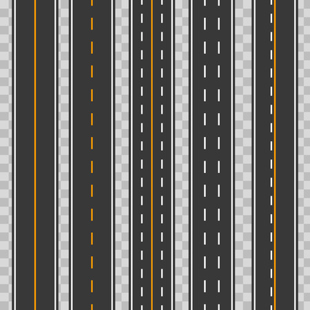 Creative vector illustration of horizontal straight seamless roads isolated on transparent background. Art design modern asphalt repetitive highways. Road asphalt highway street seamless element
