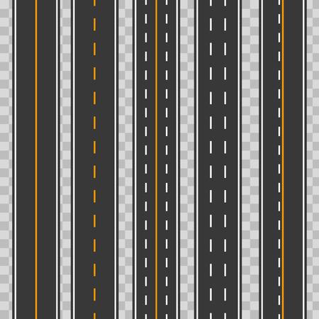 Kreative Vektorillustration von horizontalen geraden nahtlosen Straßen lokalisiert auf transparentem Hintergrund. Kunstdesign moderne sich wiederholende Asphaltstraßen. Straßenasphalt Autobahn Straße nahtloses Element