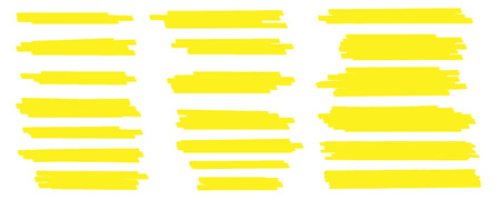 Creative vector illustration of stain strokes, hand drawn yellow highlight japan marker lines, brushes stripes isolated on transparent background. Art design. Abstract concept graphic stylish element.