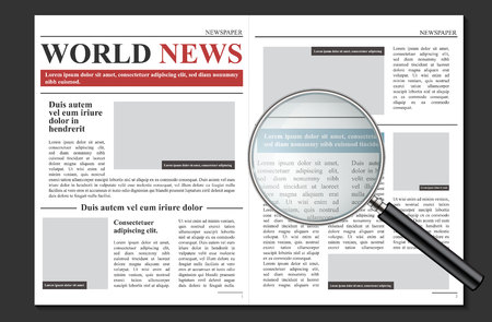 Creative vector illustration of daily newspaper journal, business promotional news isolated on transparent background. Art design mockup template. Abstract concept graphic typographic print element. 일러스트