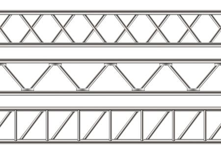 강철 트러스 대들보, 투명 한 배경에 고립 된 크롬 파이프의 크리 에이 티브 벡터 일러스트. 빌보드 아트 디자인 수평 금속 구조. 추상 개념 그래픽 요소입니다. 벡터 (일러스트)