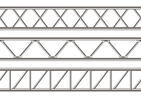 Ilustracja wektorowa Creative dźwigara stalowa kratownica, rury chromowane na przezroczystym tle. Art design pozioma konstrukcja metalowa do billboardu. Element graficzny koncepcja abstrakcyjna. Ilustracje wektorowe