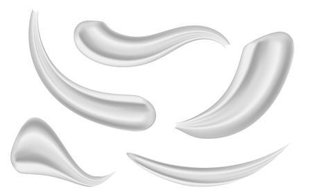 Creative vector illustration of various strokes beauty face cosmetic white cream texture set isolated on transparent background. Art design gel or foam drop. Abstract concept graphic element Vector Illustration
