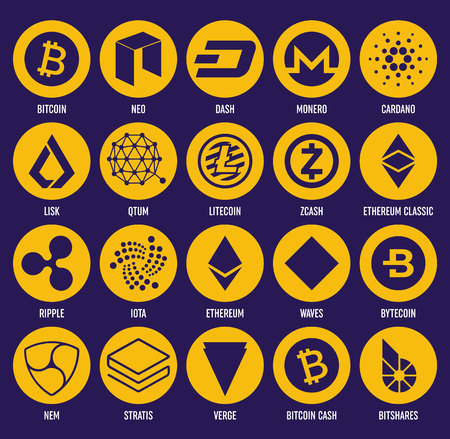 Creative vector illustration of popular crypto currency blockchain coin set isolated on transparent background. Art design cryptocurrency icon, symbol. Abstract concept graphic bitcoin element. Vector Illustration