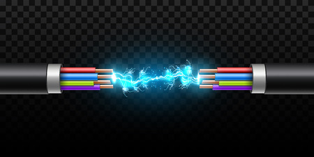 Creative vector illustration of electric glowing lightning between colored break cable, copper wires with circuit sparks isolated on transparent background. Art design. Abstract concept element. Standard-Bild - 109776120