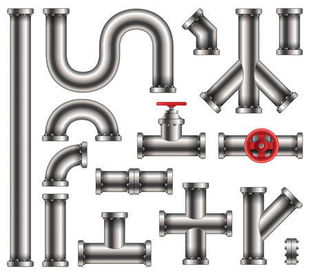 Creative vector illustration of steel metal water, oil, gas pipeline, pipes sewage isolated on transparent background. Art design abstract concept graphic ells, gate valve, fittings, faucet element.