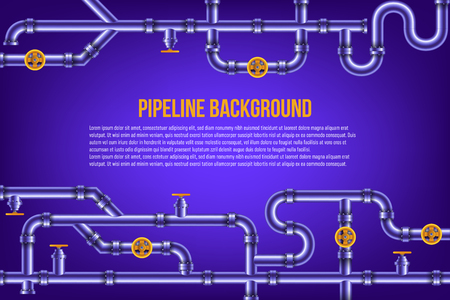 Creative vector illustration of industrial oil, water, gas pipe system and ware pipeline fittings, valves on background. Art design plumbing and taps. Abstract concept graphic element.