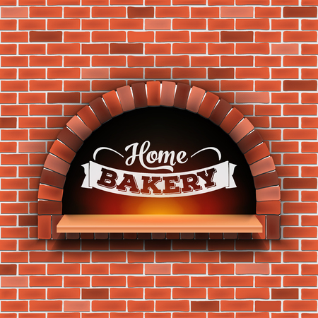 Creative vector illustration of stone brick, pizza firewood oven with fire isolated on transparent background. Art design home bakery. Abstract concept graphic pizzeria restaurant, bread shop element.