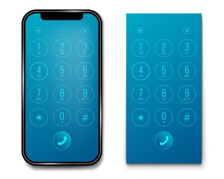 Creative vector illustration of phone dial, keypad with numbers isolated on transparent background. Art design smartphone touchscreen device. Abstract concept graphic user interface element. 일러스트