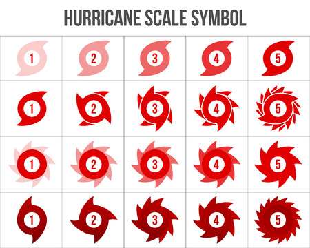 Creative vector illustration of hurricane scale indication icon symbol set isolated on transparent background. Art design vortex, typhoon, tornado funnel, wind storm. Abstract concept graphic element Ilustração
