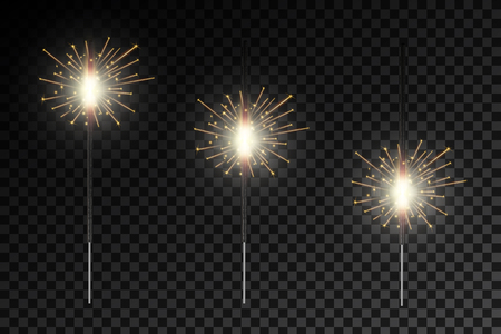 Creative vector illustration of christmas fire glow light sparks isolated on transparent background. Art design bright fireworks template. Abstract concept graphic festive magic element