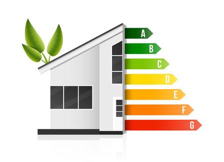 Kreative Vektorillustration der Hausenergieeffizienzbewertung lokalisiert auf Hintergrund. Kunstdesign intelligente Öko-Hausverbesserungsvorlage. Element des grafischen Zertifizierungssystems des abstrakten Konzepts Standard-Bild