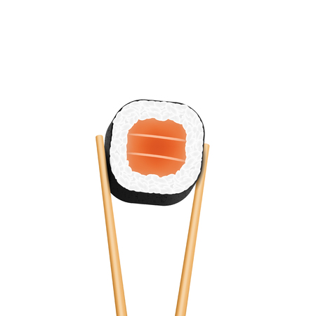 Creative vector illustration of chopsticks holding sushi salmon pieces roll isolated on transparent background. Art design snack template. Abstract concept restaurant, bar, shop menu graphic element. Иллюстрация