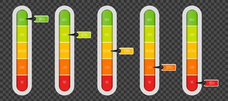 Illustration de vecteur créatif de compteur indicateur de niveau avec unités de pourcentage isolés sur fond transparent. Modèle de barre de progression de la conception artistique. Élément d'infographie de curseur graphique de concept abstrait.