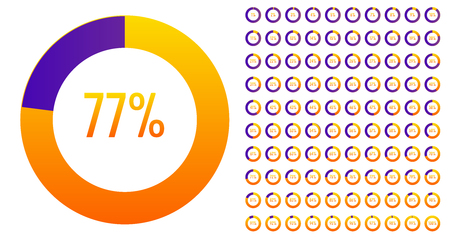 Creative vector illustration of circle percentage diagrams 0 to 100 set isolated on transparent background. Art design web, ui, pie charts infographic template. Abstract concept graphic element. Ilustrace
