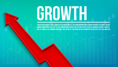 Creative vector illustration 3d arrow financial growth, graphic grow banner background. Art design business presentation layout template. Abstract concept chart sales element.