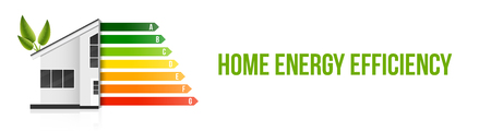 Creative vector illustration of home energy efficiency rating isolated on background. Art design smart eco house improvement template. Abstract concept graphic certification system element. 向量圖像
