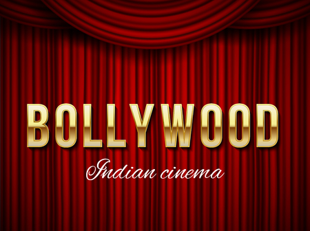 Creative vector illustration of bollywood cinema background. Art design indian movie, cinematography, theater banner or poster template. Abstract concept graphic film board element on red curtains.