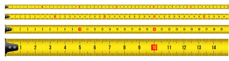 Creative vector illustration of tape measure, measuring tool, ruler, meter isolated on transparent background. Art design roulette template. Abstract concept graphic element. Illustration