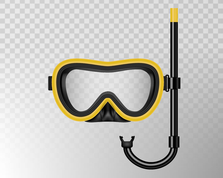 Creative vector illustration of scuba diving, swimming mask with snorkel, goggles, flippers isolated on transparent background. Art design realistic snorkeling diver equipment for summer holidays.