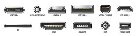 Illustrazione vettoriale creativo di usb computer connettori universali icona simbolo isolato su sfondo trasparente. Spine mini, micro, lightning, tipo A, B, C. Elemento grafico concetto astratto.