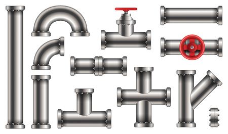 Creative vector illustration of steel metal water, oil, gas pipeline, pipes sewage isolated on transparent background. Art design abstract concept graphic ells, gate valve, fittings, faucet element. Çizim