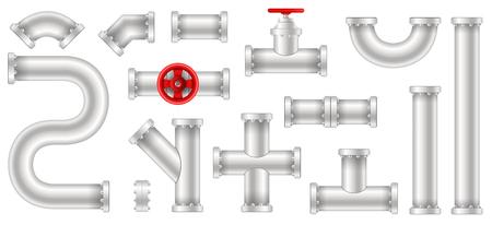 Illustration vectorielle créative d'eau en plastique, pétrole, gazoduc, égouts de tuyaux isolés sur fond transparent. Art design abstrait concept graphique ells, vanne, raccords, élément de robinet. Vecteurs