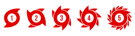 Creative vector illustration of hurricane scale indication icon symbol set isolated on transparent background. Art design vortex, typhoon, tornado funnel, wind storm. Abstract concept graphic element.