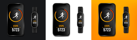 Creative vector illustration of fitness counter run app in phone and wrist band bracelet, activity tracker isolated on background. Art design smartphone template. Abstract concept graphic element.