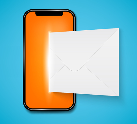 Creative vector illustration of new sms or email notification on mobile phone on background. Art design envelope unread message from screen template. Abstract concept graphic smartphone element.