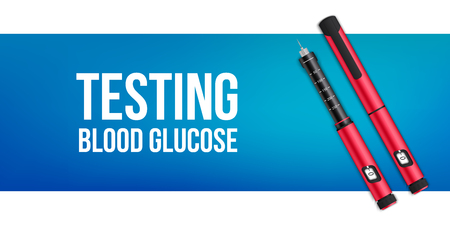Creative vector illustration of insuline pens equipment and glucose level blood test for diabetics on background. Art design treatment diabetes disease template. Abstract concept graphic element.
