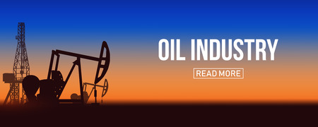 Creative vector illustration of oil pump industry silhouette, field pumpjack, rig drill over sunset isolated on background. Art design template. Abstract concept graphic equipment element.