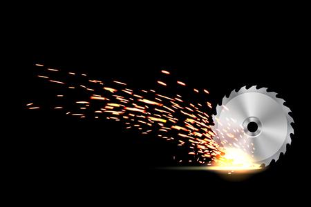 Kreative Vektorgrafik von Kreissägeblatt für Holz, Metallarbeiten mit Schweißen von Metallfeuerfunken einzeln auf transparentem Hintergrund. Kunst-Design-Vorlage. Abstraktes Konzept grafisches Schweißelement.