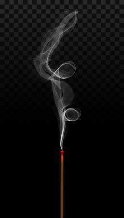 Illustrazione vettoriale creativo di aroma realistico del bastone di incenso con fumo isolato su sfondo trasparente. Brucia di incenso di art design. Elemento grafico cinese di nuovo anno di concetto astratto.