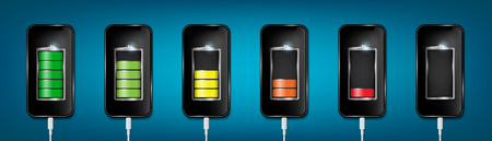 Creative vector illustration of full charged battery smartphone with cellphone usb plugs cable isolated on background. Art design universal recharger accessories. Abstract concept graphic element.