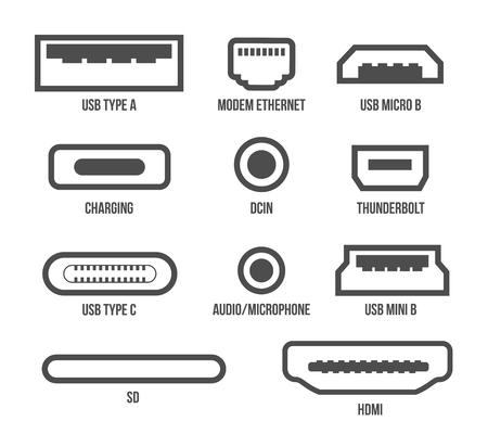 Creative vector illustration of usb computer universal connectors icon symbol isolated on transparent background. Mini, micro, lightning, type A, B, C plugs design. Abstract concept graphic element. Vektoros illusztráció
