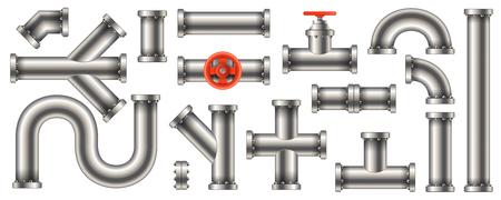 Creatieve vectorillustratie van stalen metalen water-, olie-, gaspijpleiding, pijpen riolering geïsoleerd op transparante achtergrond. Art design abstract concept grafische ellen, schuifafsluiter, fittingen, kraanelement. Vector Illustratie