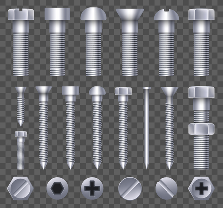 Creative vector illustration of steel brass bolts, metal screws, iron nails, rivets, washers, nuts hardware side view isolated on transparent background. Art design abstract concept graphic element.