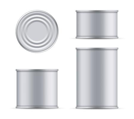 Boîte de conserve en métal créatif vector illustration de dessus de thon et vue de face isolée sur fond transparent. Art design alimentaire en aluminium, modèle d'emballage en acier maquette. Élément graphique de concept abstrait. Vecteurs