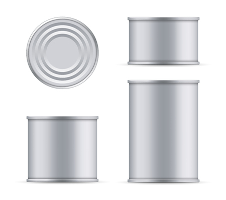 Creative vector illustration metal tin can of tuna top and front view isolated on transparent background. Art design food aluminum, steel packaging template mock up. Abstract concept graphic element.