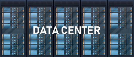 Creative vector illustration of server rack room, big data bank center isolated on transparent background. Art design web hosting technology. Abstract concept graphic computer service element.